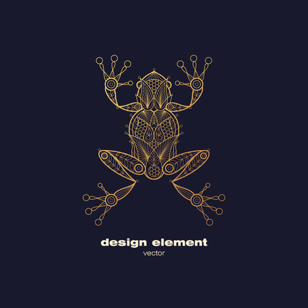 Vector design element - frog. Icon decorative amphibian isolated on black background. Modern decorative illustration animal. Template for logo, emblem, sign, poster. Concept of gold foil print.