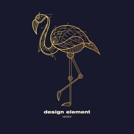 Vector design element flamingo. Icon decorative bird isolated on black background. Modern decorative illustration animal. Template for creating logo, emblem, sign, poster. Concept of gold foil print.