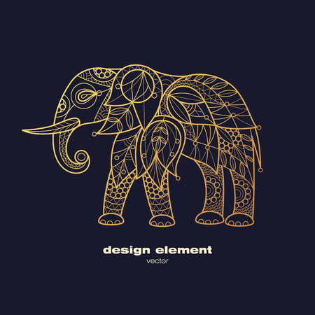 Vector design element - elephant. Icon decorative animal isolated on black background. Modern decorative illustration animal. Template for logo, emblem, sign, poster. Concept of gold foil print.