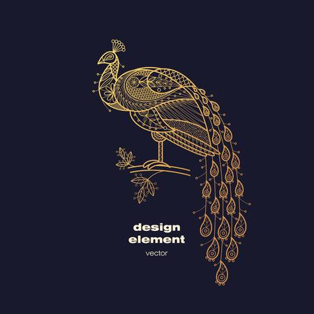 Elemento di disegno vettoriale - pavone. Icona uccello decorativo isolato su sfondo nero. Moderna decorativo illustrazione degli animali. Modello per la creazione di logo, emblema, segno, poster. Concetto di stampa lamina d'oro.