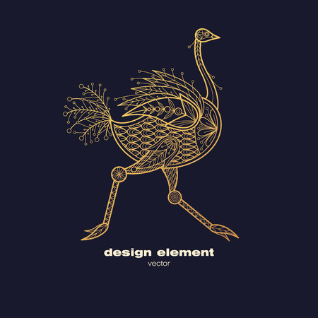 Vector design element - ostrich. Icon decorative animal isolated on black background. Modern decorative illustration bird. Template for creating logo, emblem, sign, poster. Concept of gold foil print.