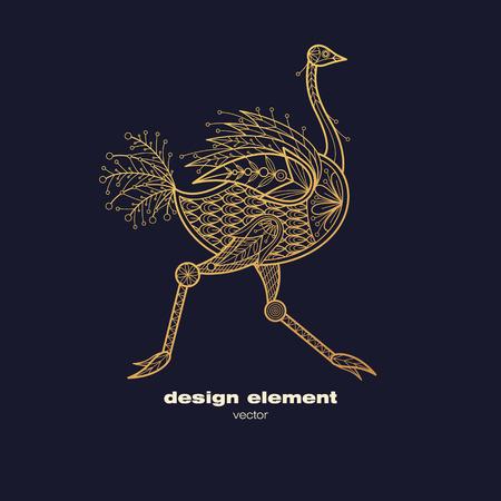 Vectorontwerpelement - struisvogel. Pictogram decoratief die dier op zwarte achtergrond wordt geïsoleerd. Moderne decoratieve illustratievogel. Sjabloon voor het maken van logo, embleem, teken, poster. Concept van goudfolie afdrukken.