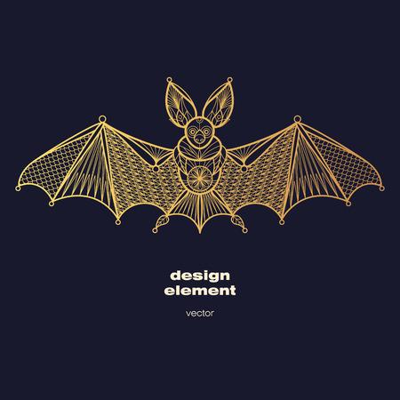 Vector design element - bat. Icon decorative animal isolated on black background. Modern decorative illustration animal. Template for creating logo, emblem, sign, poster. Concept of gold foil print.