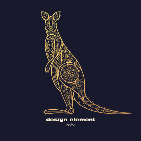 wallaby: Vector design element wallaby. Icon decorative animal isolated on black background. Modern decorative illustration animal. Template for creating logo, emblem, sign, poster. Concept of gold foil print. Illustration