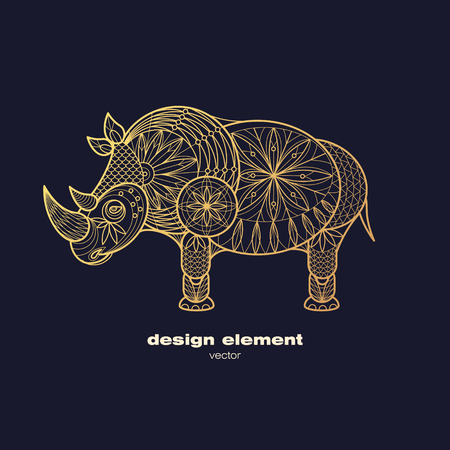 hornbill: Vector design element - rhino. Icon decorative animal isolated on black background. Modern decorative illustration animal. Template for creating logo, emblem, sign, poster. Concept of gold foil print.