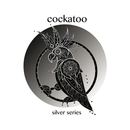 cockatoo: Cockatoo. Vector cockatoo icon in a circle. Concept image of decorative bird. Modern trend - linear design. Illustration cockatoo logo, sign, symbol, object of nature. Series black, white and silver. Illustration
