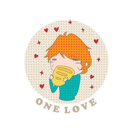 overeating: Cartoon funny child eating bread and an inscription one love on a white background. Vector. Illustration for printing on T-shirts, postcards, posters, business cards, avatars. Emotions.  Joke.
