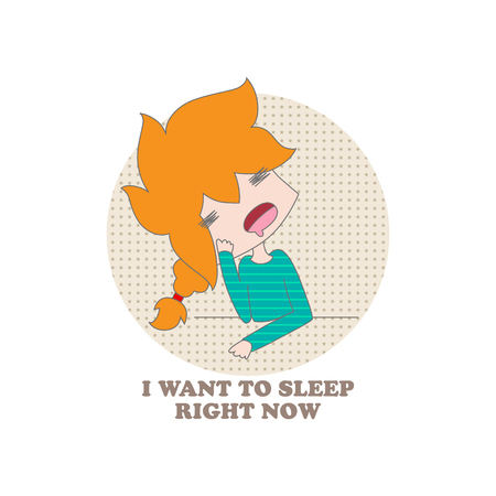 getting started: Funny cartoon girl and the inscription I want to sleep right now on a white background. Vector. Illustration for printing on T-shirts, postcards, posters, business cards, avatars. Emotions. Joke.