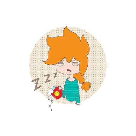 joke: Funny cartoon girl falls asleep with cup of coffee on a white background. Vector. Illustration for printing on T-shirts, postcards, posters, business cards, avatars. Emotions. Joke.