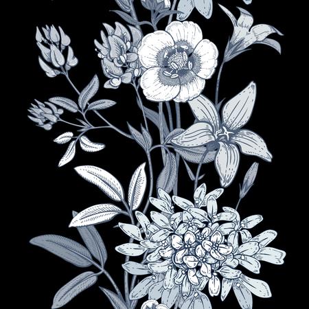 field of flowers: Illustration of wild field flowers buttercups, alfalfa, bell. Illustration