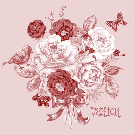 Vintage floral kaart met een boeket rozen, vogels, vlinders en boog.