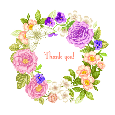 Vintage greeting card with blooming flowers and butterfly. Thank you with place for your text. Roses. Sakura. Pansies. Vector Illustration. Reklamní fotografie - 55251171