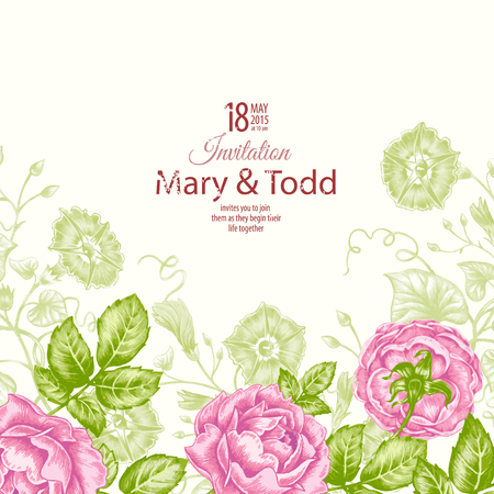 Floral card. Bouquet of roses. Wedding invitation. Vector. Retro. Victorian style.