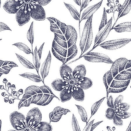 victorian wallpaper: Floral seamless pattern. Design for fabrics, textiles, wallpaper, paper. Vector. Victorian style. Black and white.