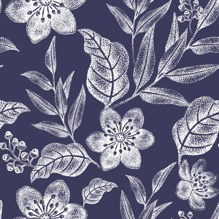 花のシームレスなパターン。織物、テキスタイル、壁紙、紙のデザインします。ベクトル。ビクトリア朝様式。黒と白。