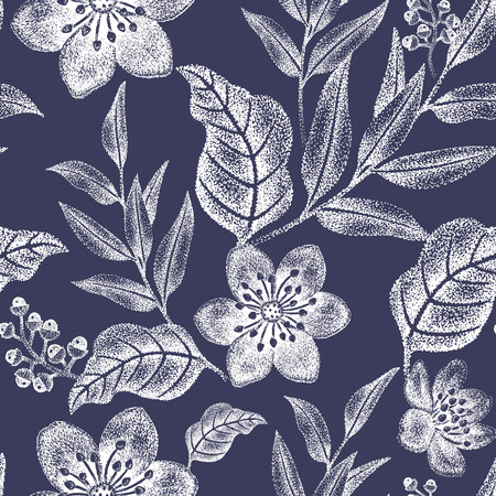 Floral seamless pattern. Design for fabrics, textiles, wallpaper, paper. Vector. Victorian style. Black and white.
