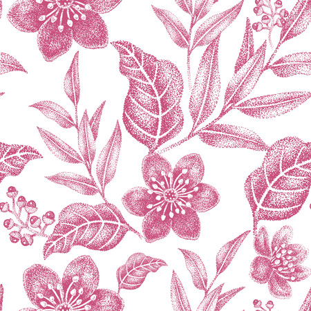 victorian wallpaper: Floral seamless pattern. Design for fabrics, textiles, wallpaper, paper. Vector. Victorian style. White and red.