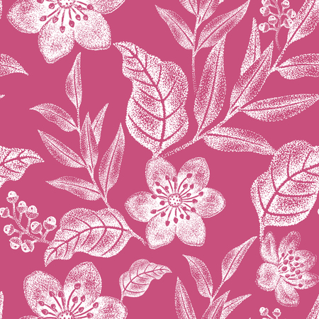 Floral seamless pattern. Design for fabrics, textiles, wallpaper, paper. Vector. Victorian style. White and red.