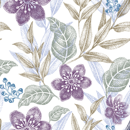 花のシームレスなパターン。織物、テキスタイル、壁紙、紙のデザインします。ベクトル。ビクトリア朝様式。  イラスト・ベクター素材