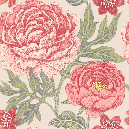 Floral seamless pattern for fabrics, textiles, wallpaper, paper. Vector. Garden flowers peonies. Design Victorian style.