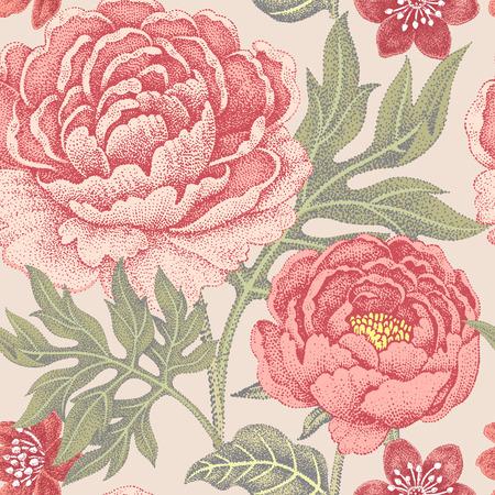 Floral nahtlose Muster für Stoffe, Textilien, Tapeten, Papier. Vektor. Gartenblumen Pfingstrosen. Entwerfen im viktorianischen Stil. Vektorgrafik