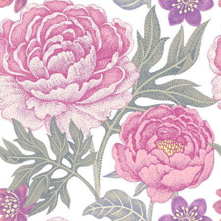 직물, 섬유, 벽지, 종이 흰색 배경에 꽃 원활한 패턴입니다. 벡터. 정원 꽃 모란. 빅토리아 스타일을 디자인합니다.