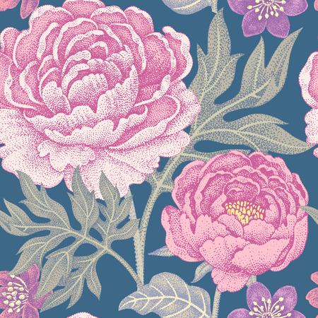직물, 섬유, 벽지, 종이 꽃 원활한 패턴입니다. 벡터. 정원 꽃 모란. 빅토리아 스타일을 디자인합니다.