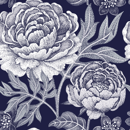 Floral seamless pattern for fabrics, textiles, wallpaper, paper. Vector. Garden flowers peonies. Design Victorian style. Black and white. Ilustração