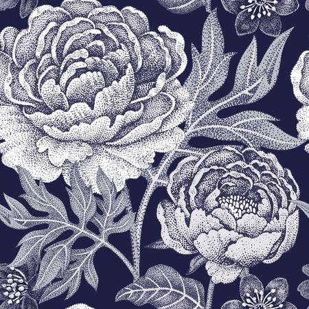 seamless floral pour les tissus, textiles, papier peint, papier. Vecteur. fleurs de jardin pivoines. Conception de style victorien. Noir et blanc.