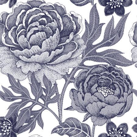 織物、テキスタイル、壁紙、紙の花のシームレスなパターン。ベクトル。庭の花牡丹。ビクトリア朝のスタイルをデザインします。黒と白。