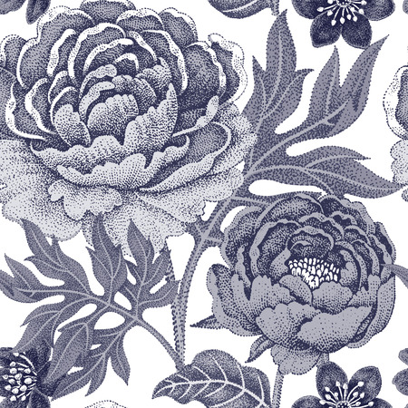 직물, 섬유, 벽지, 종이 꽃 원활한 패턴입니다. 벡터. 정원 꽃 모란. 빅토리아 스타일을 디자인합니다. 검정색과 흰색.