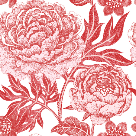 buttercup  decorative: Floral seamless pattern on a white background for fabrics, textiles, wallpaper, paper. Vector. Garden flowers peonies. Design Victorian style.