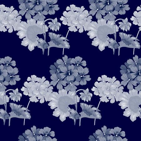 Hintergrund mit Geranien. Nahtlose Muster. Illustration viktorianischen Stil. Jahrgang. Vektor. Entwürfe für Textilien, Interieur, Vorhänge, Möbelstoffe, Papier, Tapeten. Schwarz und weiß.