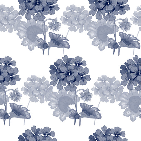 Background with geranium flowers. Seamless pattern. Illustration victorian style. Vintage. Vector. Designs for textiles, interior, curtains, upholstery fabrics, paper, wallpaper. Black and white. Illustration