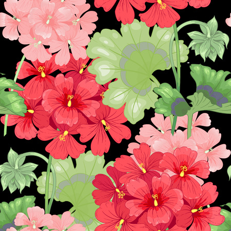 Black background with geranium flowers. Seamless pattern. Illustration victorian style. Vintage. Vector. Designs for textiles, fabrics, interior design, curtains, upholstery fabrics, paper, wallpaper. Illustration
