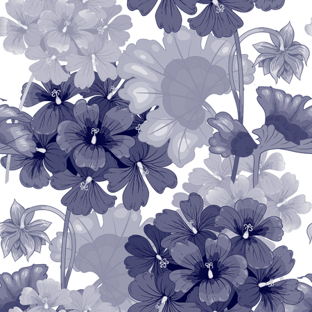 victorian style: Background with geranium flowers. Seamless pattern. Illustration victorian style. Vintage. Vector. Designs for textiles, interior, curtains, upholstery fabrics, paper, wallpaper. Black and white. Illustration