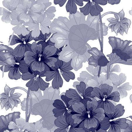 Hintergrund mit Geranien. Nahtlose Muster. Illustration viktorianischen Stil. Jahrgang. Vektor. Entwürfe für Textilien, inter, Vorhänge, Möbelstoffe, Papier, Tapeten. Schwarz und weiß. Vektorgrafik