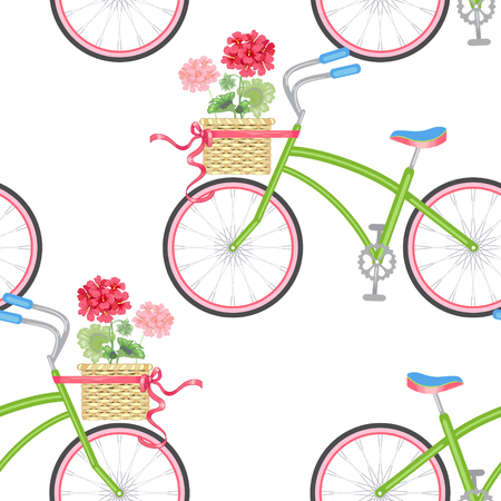 Vector seamless pattern with hipster bikes, wicker baskets, flowers, geraniums, ribbons on a white background. Vintage.