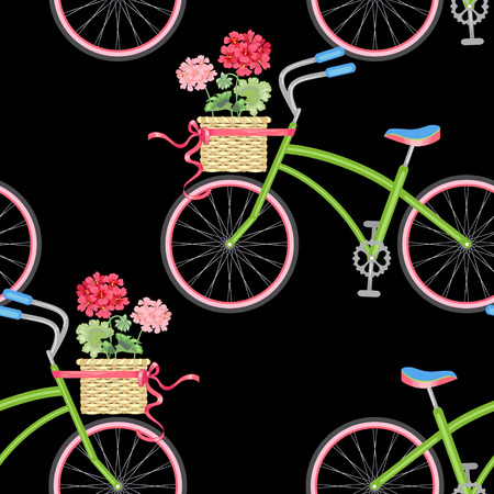 Vector seamless pattern with hipster bikes, wicker baskets, flowers, geraniums, ribbons on a black background. Vintage.