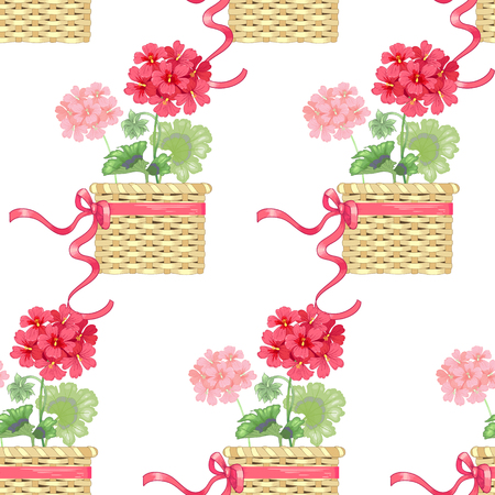 White background with geranium flowers. Seamless pattern. Illustration victorian style. Vintage. Vector. Designs for textiles, fabrics, interior design, curtains, upholstery fabrics, paper, wallpaper.