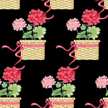 victorian wallpaper: Black background with geranium flowers. Seamless pattern. Illustration victorian style. Vintage. Vector. Designs for textiles, fabrics, interior design, curtains, upholstery fabrics, paper, wallpaper. Illustration