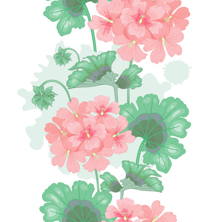 victorian style: White background with geranium flowers. Seamless pattern. Illustration victorian style. Vintage. Vector. Designs for textiles, fabrics, interior design, curtains, upholstery fabrics, paper, wallpaper.