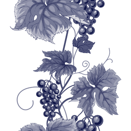 branches with leaves: Seamless pattern with branches, leaves and berries of wild grapes. Illustration