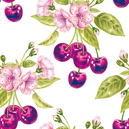 Vector seamless background. A branch of cherry blossoms. Design for fabrics, textiles, paper, wallpaper, web. Floral ornament.