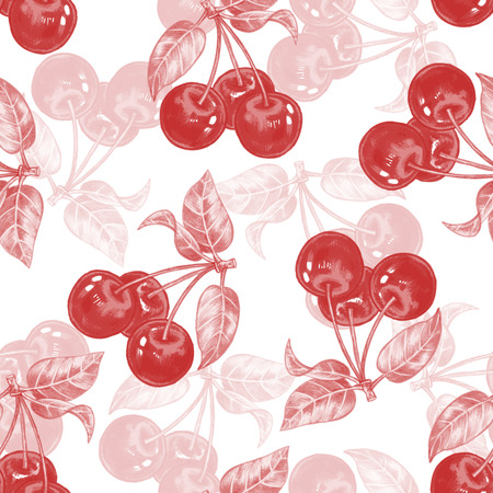 Vector seamless background. Cherries. Design for fabrics, textiles, paper, wallpaper, web. Berry pattern.