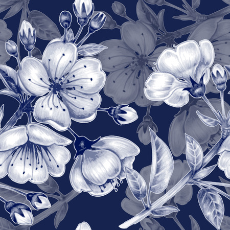 botanical garden: Vector seamless background. A branch of cherry blossoms. Design for fabrics, textiles, paper, wallpaper, web. Floral ornament. Black and white.