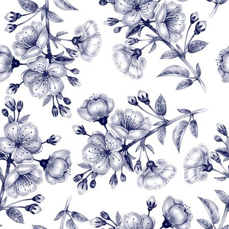 벡터 원활한 배경입니다. 벚꽃의 분기. 직물, 섬유, 종이, 벽지, 웹 디자인. 꽃 장식. 검정색과 흰색.