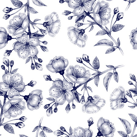 Vector seamless background. A branch of cherry blossoms. Design for fabrics, textiles, paper, wallpaper, web. Floral ornament. Black and white.