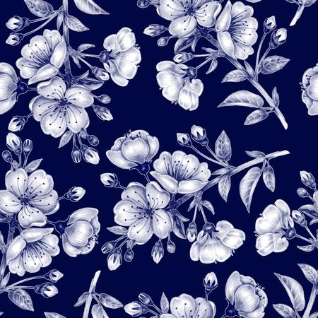 textil: Fondo inconsútil del vector. Una rama de flores de cerezo. Diseño de telas, textiles, papel, papel pintado, tela. adornos florales. En blanco y negro.