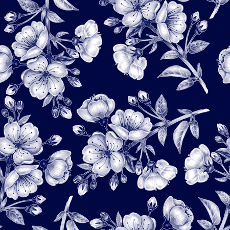 textile: Vector seamless background. A branch of cherry blossoms. Design for fabrics, textiles, paper, wallpaper, web. Floral ornament. Black and white.
